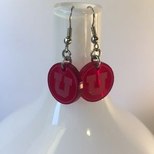 University Of Utah Red Logo Earrings